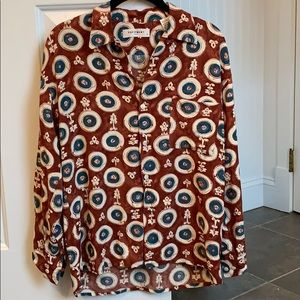 Equipment patterned silk blouse